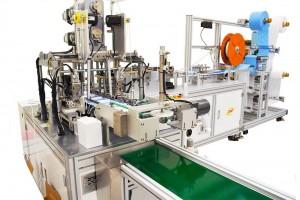 Máquina Automática de Fabricar Máscaras e Aplicar Elásticos com 1 Máquina de Pregar Alça e Sensor de Clipe Nasal DMP FB14-H1