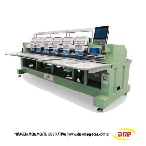 Máquina de Bordar Industrial 6 Cabeças 12 Agulhas com Aparelho de Lantejoulas e Cording DMP