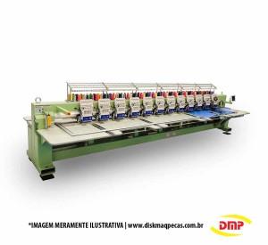 Máquina de Bordar Industrial 12 Cabeças 12 Agulhas com Aparelho de Lantejoulas e Cording DMP
