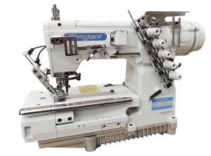 Máquina de Costura Galoneira Base Plana Fechada com Motor Direct Drive, Corte de Linha Pneumático e Levantador de Calcador KINGTEX