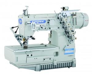 Máquina de Costura Galoneira Base Plana Fechada com Motor Direct Drive e Sistema Pneumático KINGTEX