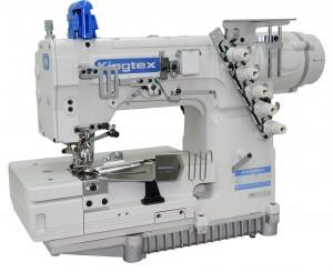 Máquina de Costura Galoneira Base Aberta com Transporte Superior de Fitas Pneumático e Motor Direct Drive KINGTEX