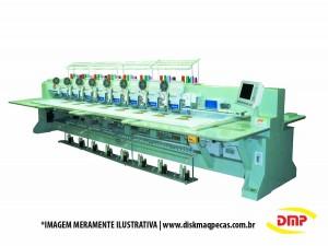 Máquina de Bordar Industrial Chenille Eletrônica 12 Cabeças 9 Agulhas com Aparelho de Lantejoula DMP