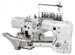 Máquina Flat Seamer com Corte de Linha dos Dois Lados, Coletor de Resíduos e Motor Direct Drive KINGTEX