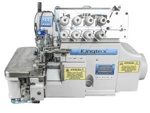 Máquina Overlock 4 Fios Ponto Cadeia com Embutidor de Corrente, Sugador de Resíduos e Motor Direct Drive KINGTEX